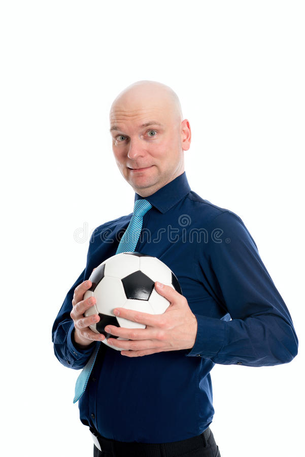 Portret van een jonge zakenman met voetbalbal royalty-vrije stock foto's