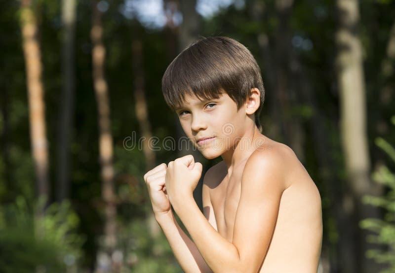 Portret van een jongen in aard stock afbeelding
