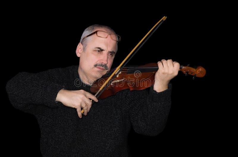 Portret van een Kaukasische mens die de viool speelt royalty-vrije stock foto