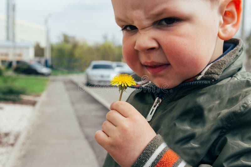 Portret van een kind, een jongen, met rode wangen van de temperatuur, van allergieën het kind heeft een allergische reactie de jo stock afbeeldingen