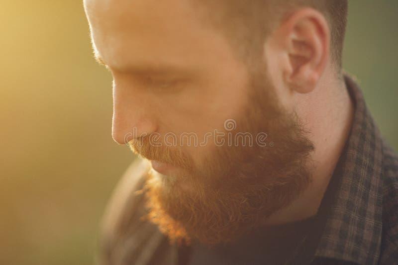 Portret van een knappe jonge mens met een baard royalty-vrije stock afbeelding