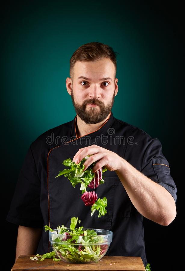 Portret van een knappe mannelijke chef-kokkok die smakelijke salade op een vage aquamarijnachtergrond maken royalty-vrije stock foto