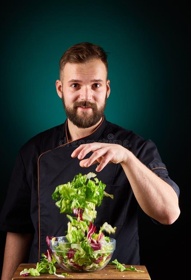 Portret van een knappe mannelijke chef-kokkok die smakelijke salade op een vage aquamarijnachtergrond maken royalty-vrije stock afbeeldingen