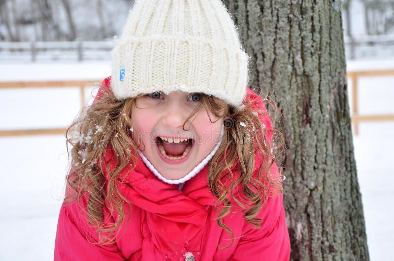 Portret van een lachend meisje, de winter stock afbeelding