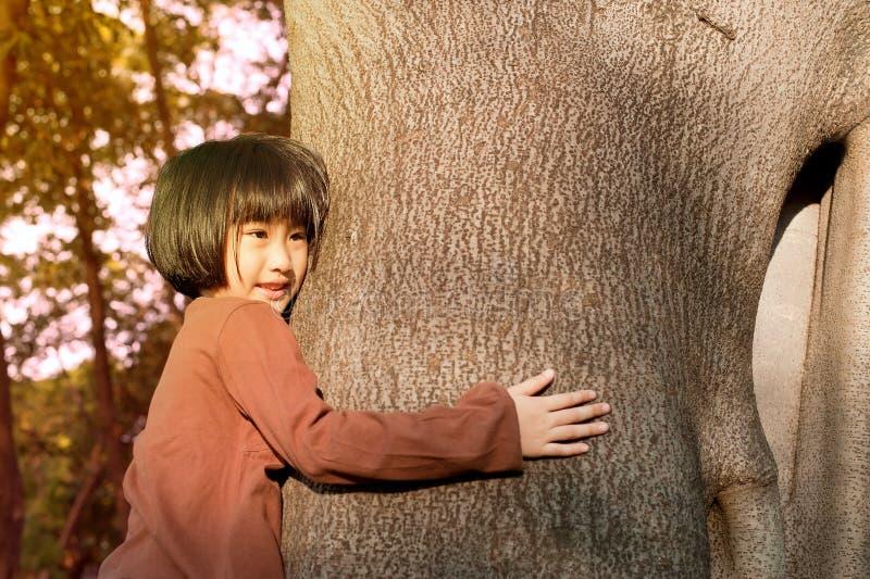 Portret van een leuk Aziatisch meisje die grote boom koesteren royalty-vrije stock foto's