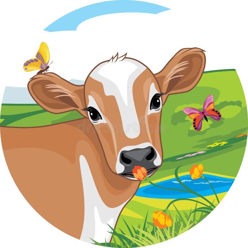 Portret van een leuk kalf met heldere vlinders sticker stock illustratie