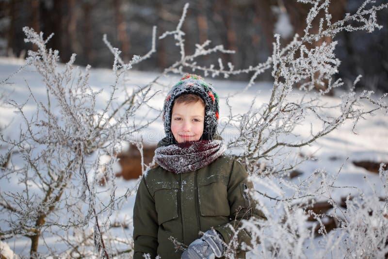 Portret van een leuke kleine jongen die in warme kleren in openlucht tijdens sneeuwval in de winter zonnige dag spelen stock foto