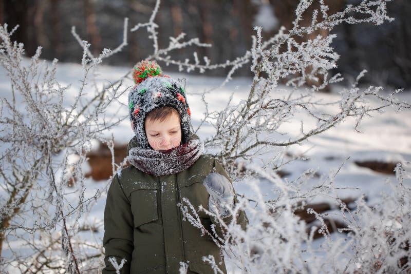 Portret van een leuke kleine jongen die in warme kleren in openlucht tijdens sneeuwval in de winter zonnige dag spelen royalty-vrije stock afbeeldingen