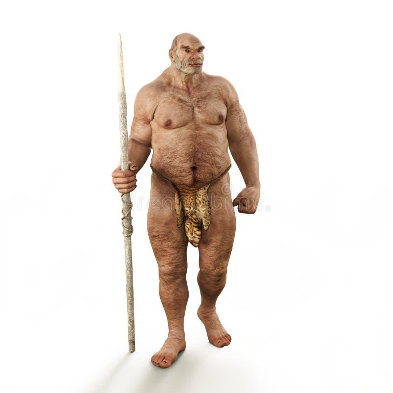 Portret van een mannelijke Neanderthaler voorhistorische holbewoner royalty-vrije illustratie