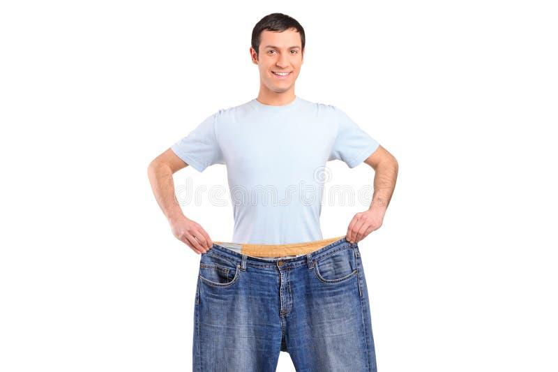 Portret van een mannetje van het gewichtsverlies stock afbeeldingen