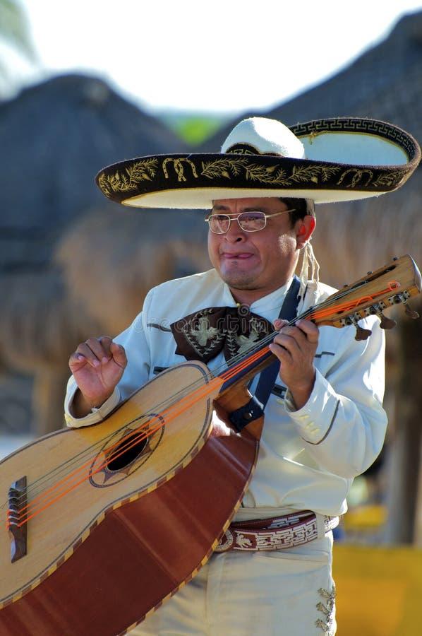 Portret van een Mariachi-Speler die met een Guitarron voor een Strandpubliek presteren royalty-vrije stock afbeeldingen