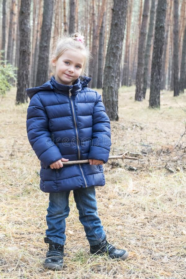 Portret van een meisje in pijnboombos stock fotografie