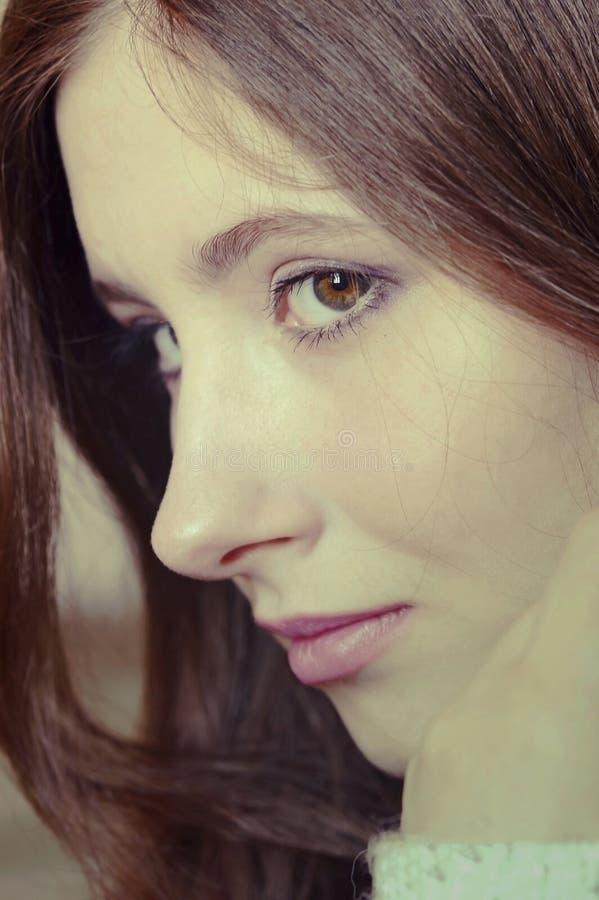 Portret van een meisjesclose-up stock foto's
