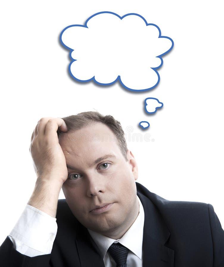 Portret van een mens in het denken met een wolk over zijn hoofd royalty-vrije illustratie