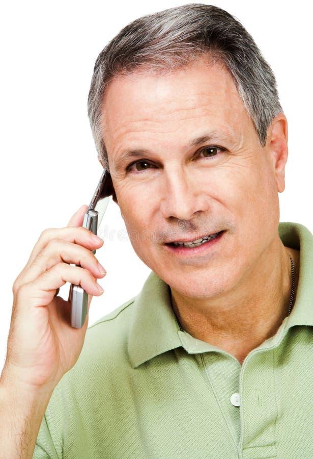 Portret van een mens op de telefoon stock afbeeldingen