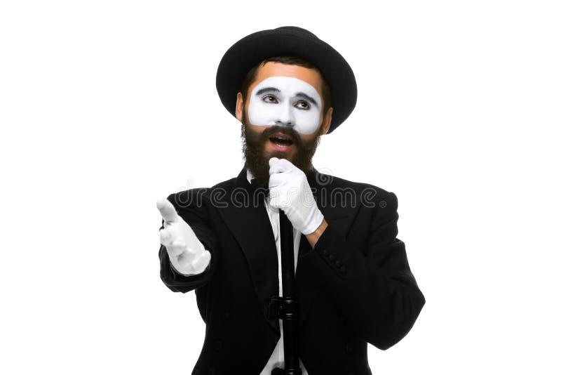 Portret van een mens zoals nabootsen met buis of retro stijl royalty-vrije stock foto