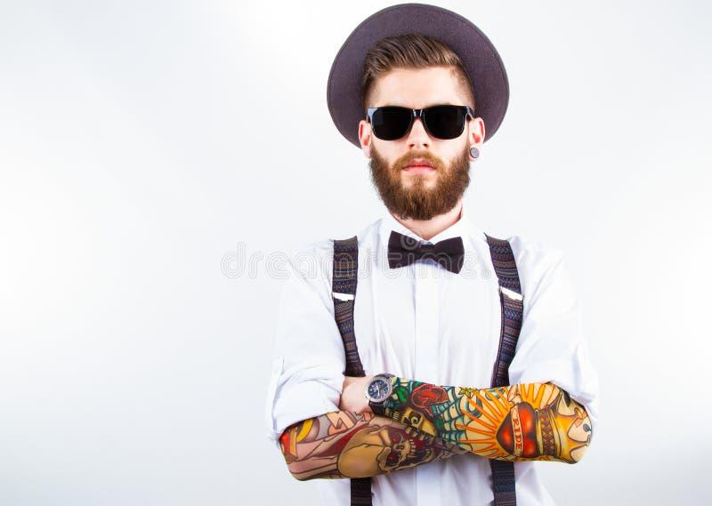 Portret van een modieuze hipster stock foto's