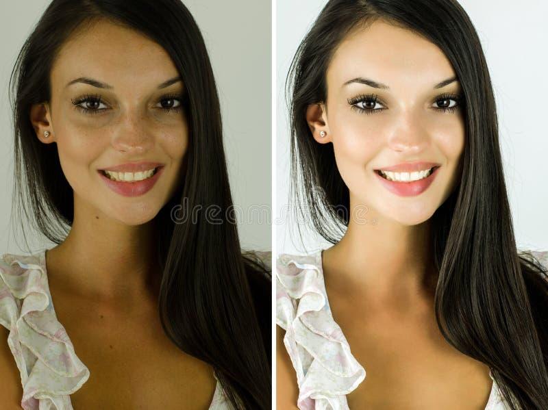 Portret van een mooi donkerbruin meisje before and after het retoucheren met photoshop stock afbeeldingen
