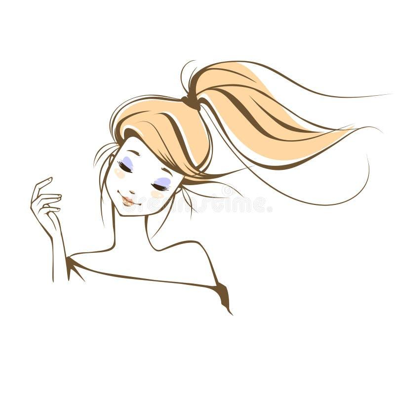 Portret van een mooi fantasiemeisje stock illustratie