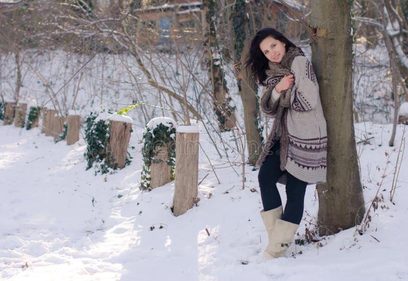 Portret van een mooi glimlachend meisje dichtbij de boom in de winter royalty-vrije stock foto's