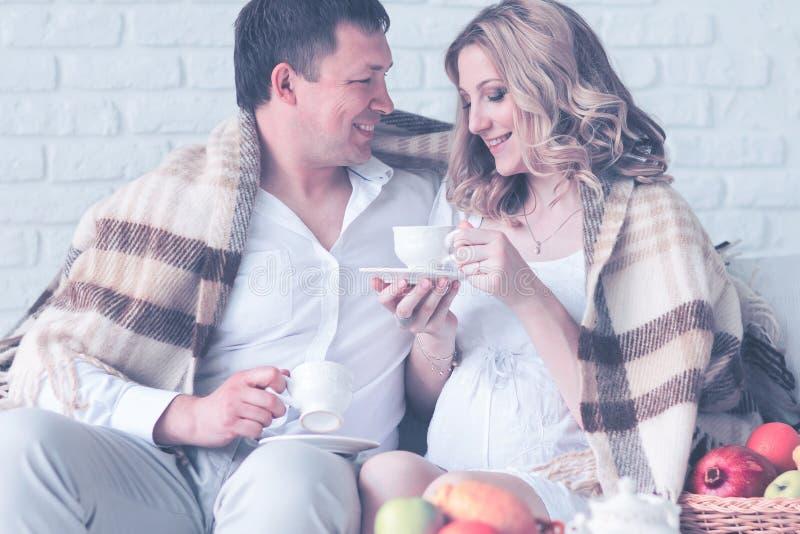 Portret van een mooi jong paar, zwanger meisje die ontbijt hebben die thuis plaid hebben behandeld stock afbeelding