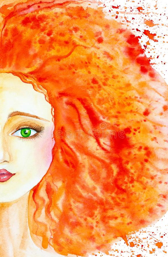 Portret van een mooi Kaukasisch meisje met lang rood haar Het haar ontwikkelt zich en wordt gekleurde VLEKdalingen watercolor stock illustratie