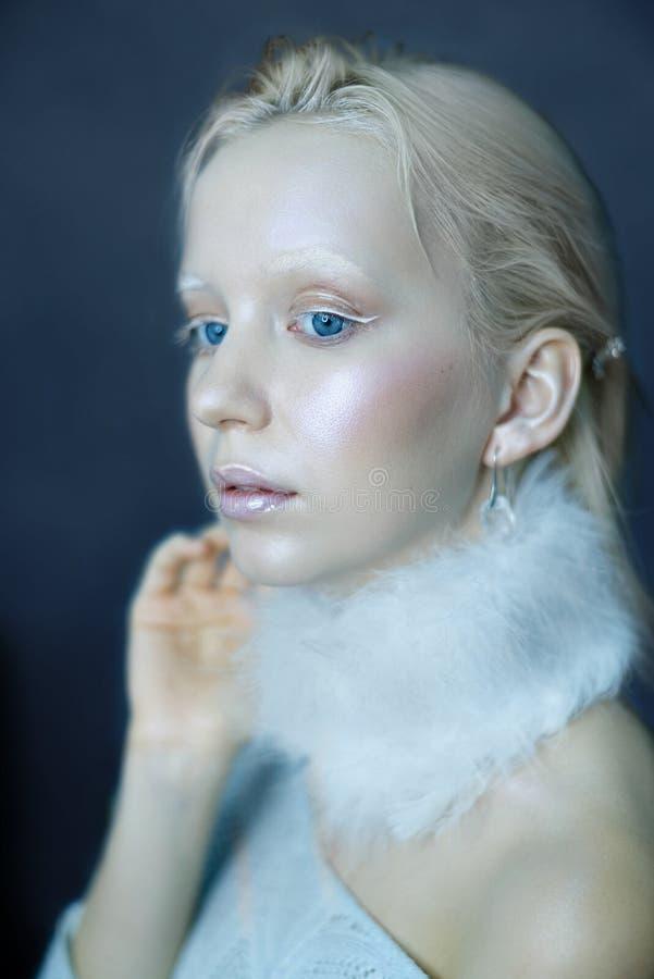 Portret van een mooi meisje in de vorst op zijn gezicht op een blauwe ijsachtergrond stock foto's
