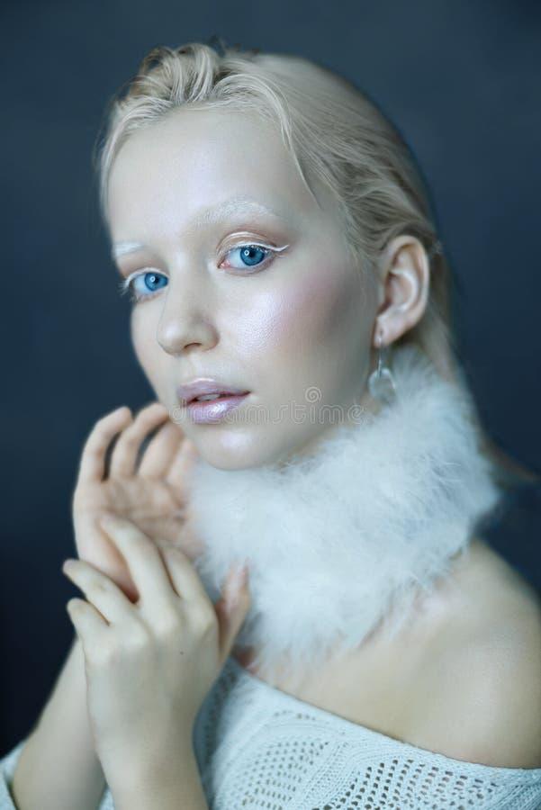 Portret van een mooi meisje in de vorst op zijn gezicht op een blauwe ijsachtergrond royalty-vrije stock fotografie