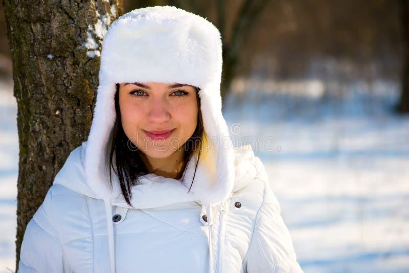 Portret van een mooi meisje in de wintertijd stock afbeelding
