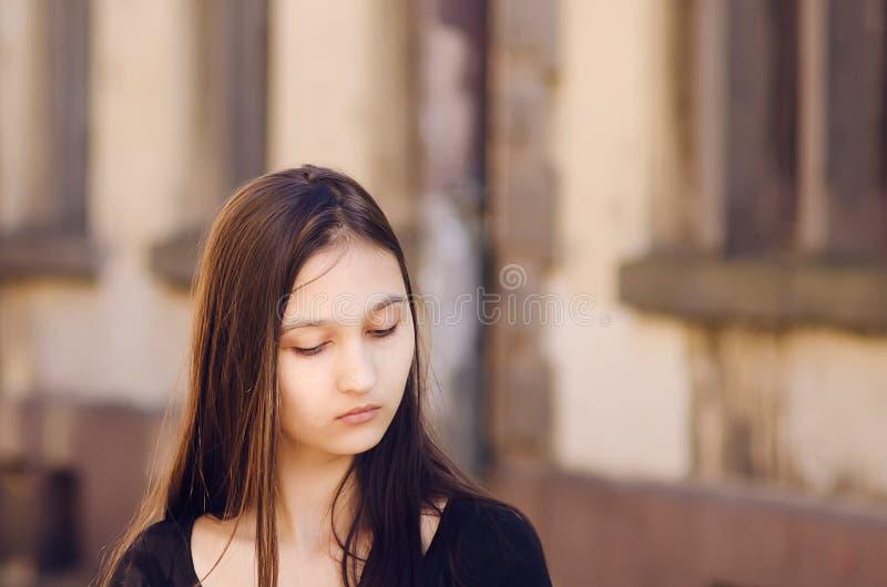 Portret van een mooi meisje, het bruine stemmen stock afbeelding