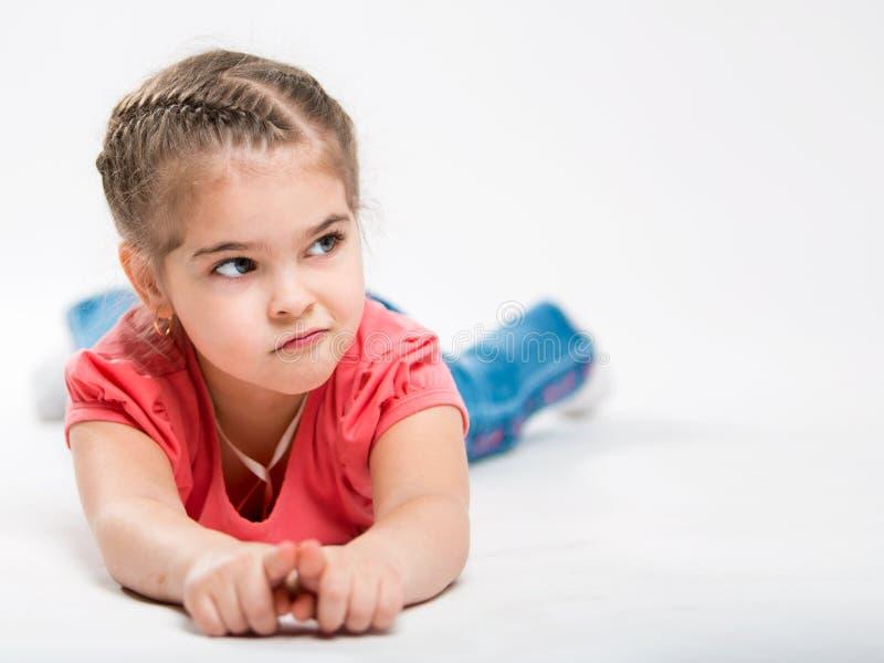Portret van een mooi meisje Kinderen` s Afgunst royalty-vrije stock foto