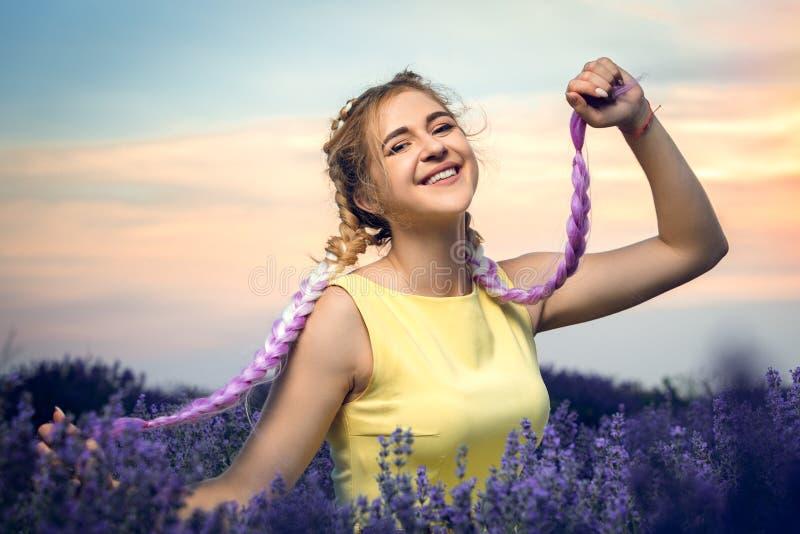 Portret van een mooi meisje met lange vlechten op een lavendelgebied Houdt vlechten in zijn handen Zonsondergang op de achtergron stock afbeelding