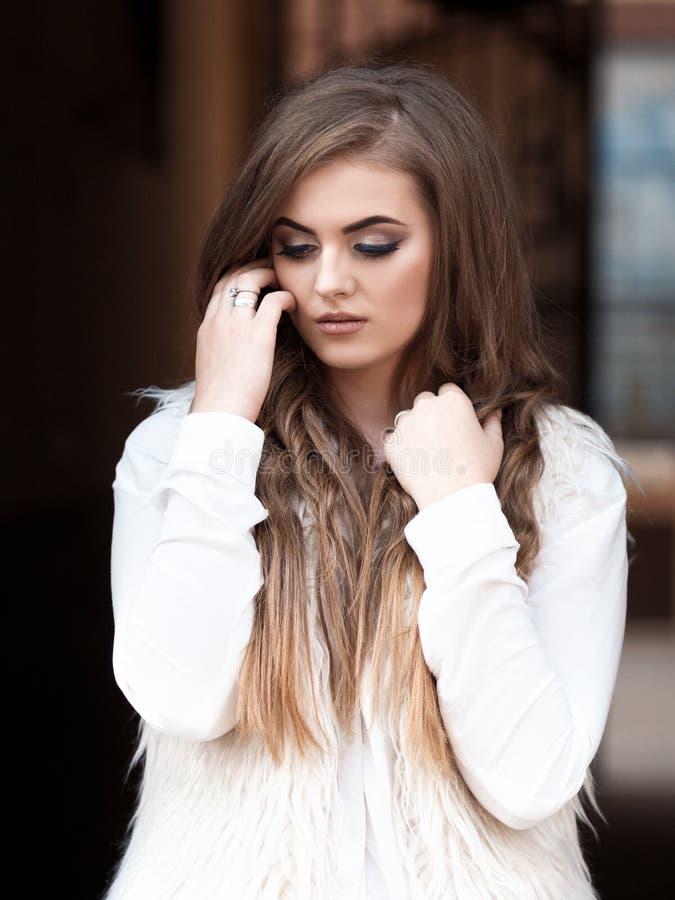 Portret van een mooi meisje met mooie haar en make-up royalty-vrije stock foto's