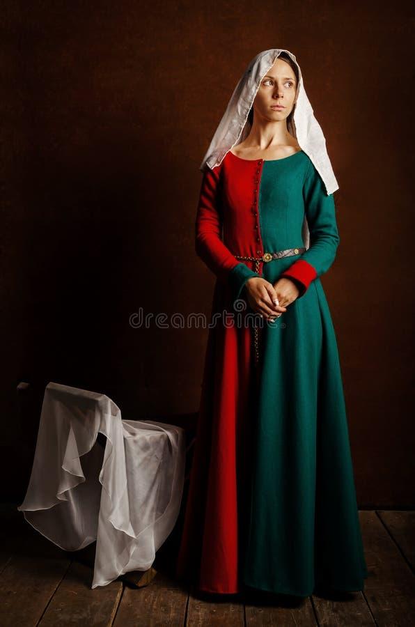 Portret van een mooi meisje in een middeleeuwse kleding in rood en groen op een bruine achtergrond stock afbeelding