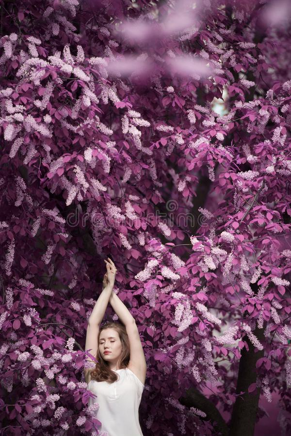 Portret van een mooi meisje onder de lentegebladerte en van de bloemenvogel kers stock afbeelding