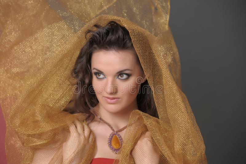 Portret van een mooie donkerbruine vrouw in een gouden kaap stock foto's