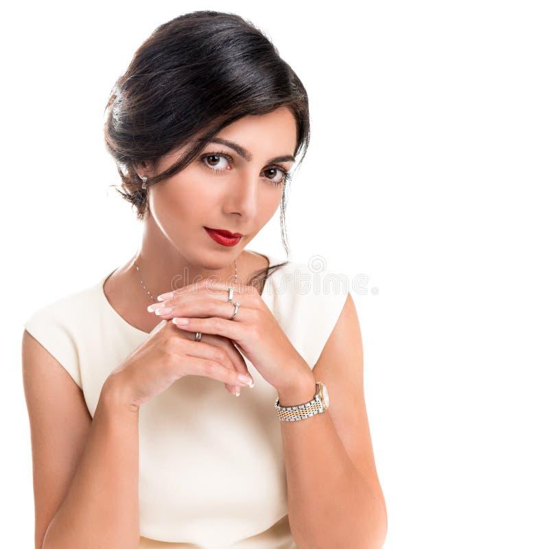 Portret van een mooie elegante vrouw stock foto's