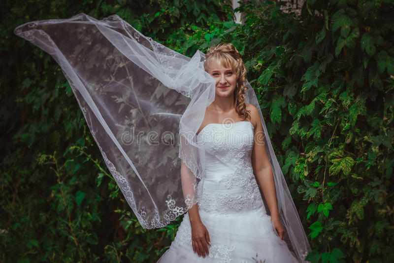 Portret van een mooie glimlachende bruid royalty-vrije stock fotografie