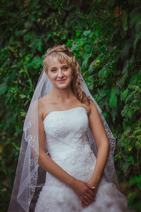 Portret van een mooie glimlachende bruid stock fotografie