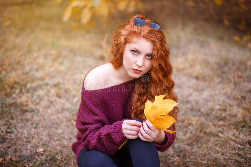 Portret van een mooie jonge roodharige vrouw op de achtergrond van de herfstlandschap stock foto's