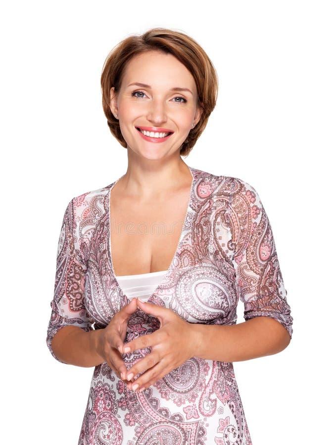 Portret van een mooie jonge volwassen witte gelukkige vrouw royalty-vrije stock afbeeldingen