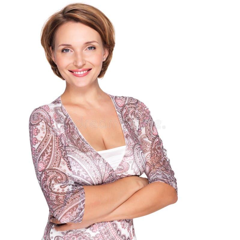 Portret van een mooie jonge volwassen witte gelukkige vrouw royalty-vrije stock fotografie