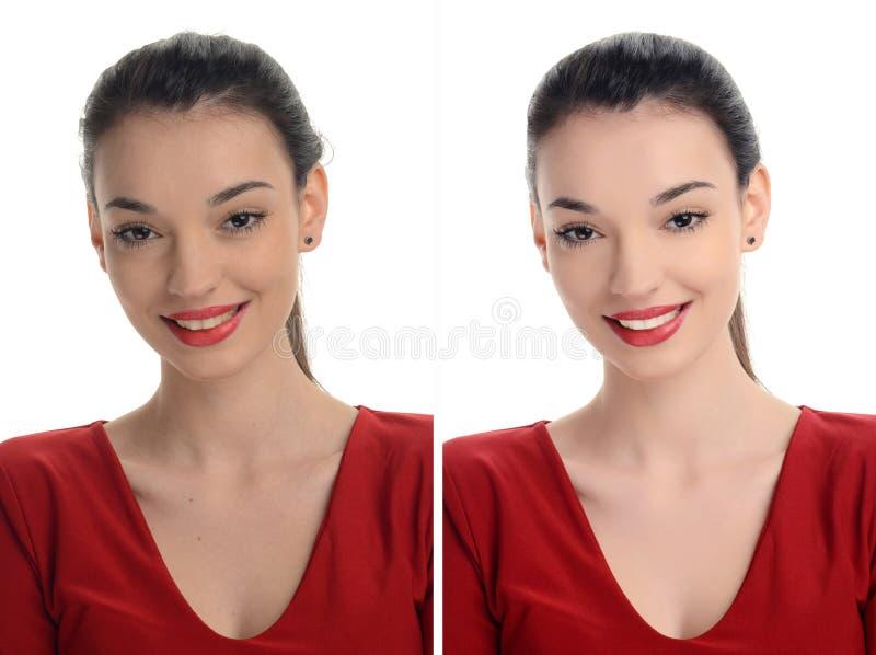 Portret van een mooie jonge vrouw die met sexy rode lippen before and after het retoucheren met photoshop glimlachen stock fotografie