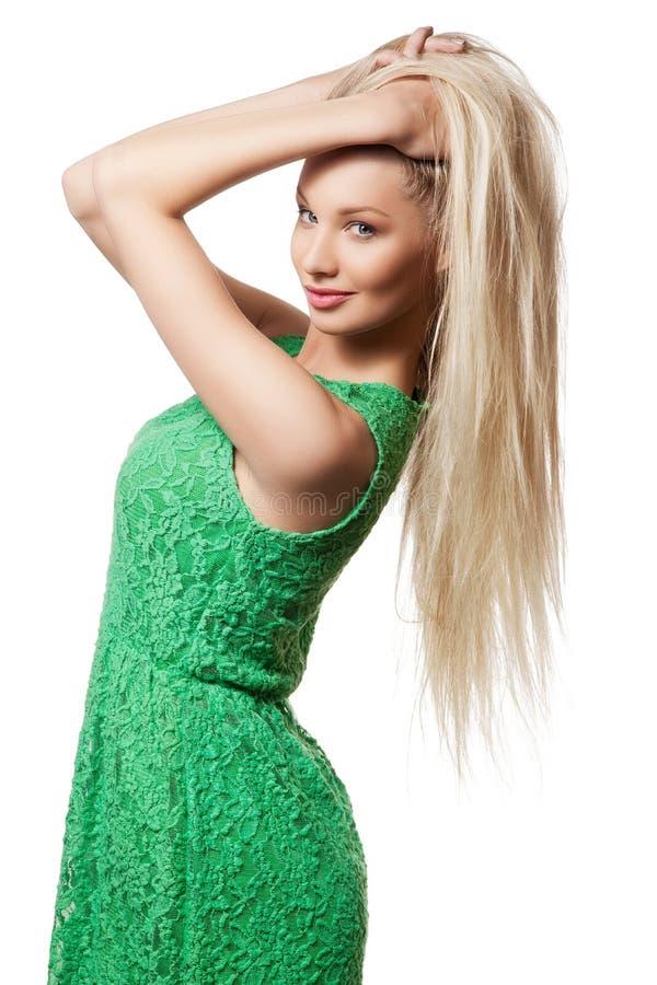 Portret van meisje met lang blond haar stock foto