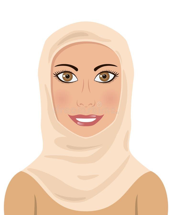 Moslim Vrouw die een Hijab dragen vector illustratie