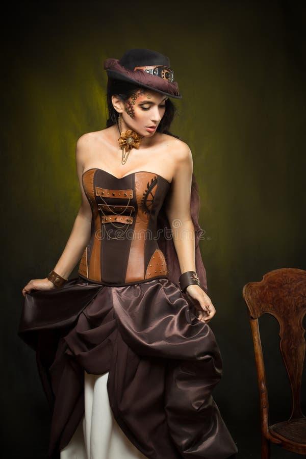 Portret van een mooie steampunkvrouw royalty-vrije stock afbeelding