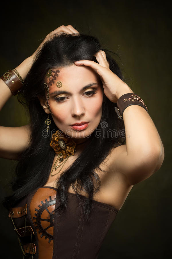 Portret van een mooie steampunkvrouw royalty-vrije stock foto