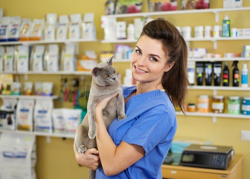 Portret van een mooie veterinaire holdingskat bij kliniek royalty-vrije stock fotografie