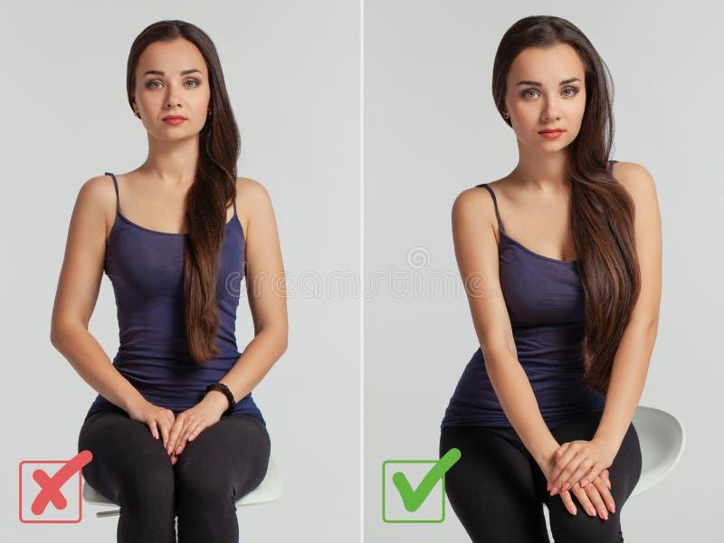 Portret van een mooie vrouw die de juiste en verkeerde manier om te stellen aantonen royalty-vrije stock afbeeldingen