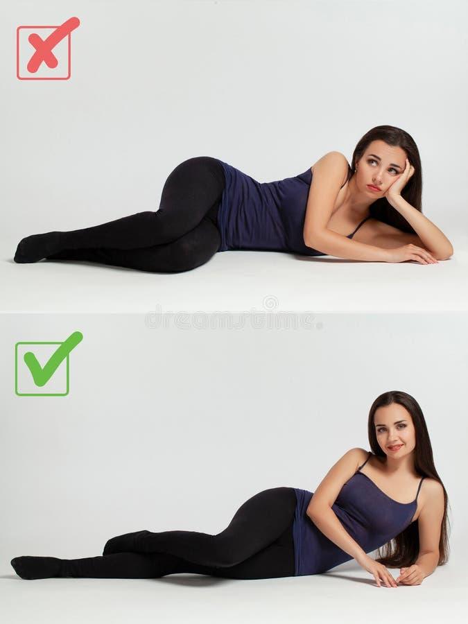 Portret van een mooie vrouw die de juiste en verkeerde manier om te stellen aantonen royalty-vrije stock foto